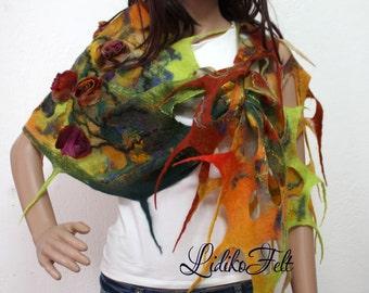 Felted Boho Wool Scarf Shawl Wrap in GREEN RED ORANGE Silk Flowers