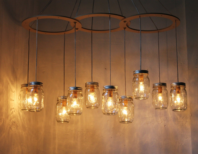 Mason jar chandelier lighting fixture large rustic mason jar zoom arubaitofo Gallery