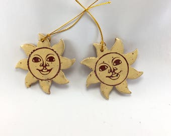 Handmade, Stoneware, Sun Face Ornament.  These are ready to Ship.