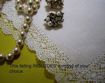 Custom Personal Gift, Premium, elegant bridal hankie gift, Custom Wedding Hankie with Handmade Bobbin Lace - Hankerchief Gift Boxed