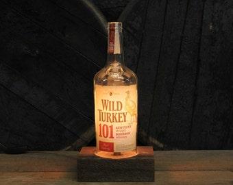 Wild Turkey Bourbon Bottle Lamp / Whiskey Bottle Light / Reclaimed Wood Base Edison Bulb / Bourbon Bar Lighting / Whiskey Lighting, Man Cave