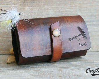 Fly Fishing Flies Pouch, Fishing gifts for him, Fishing Wallets, Anniversary Leather Gift for Him, Fishing gifts for men, Fishing Gift