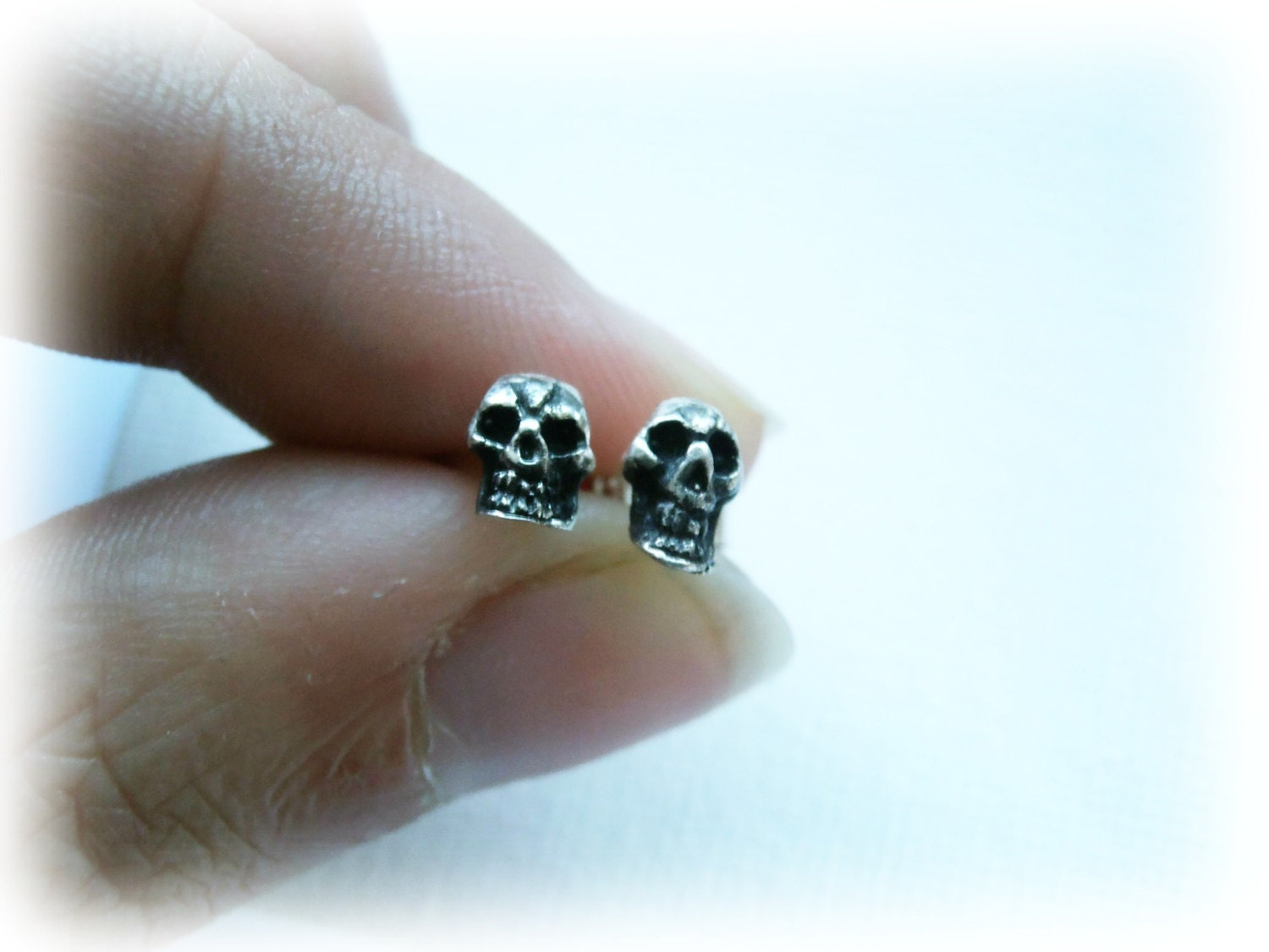 stud silver pieces sterling products biker mens earring skull earrings punk