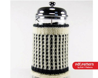 Slip Stitch Cafetiere/French Coffee Press Cosy Downloadable knitting pattern