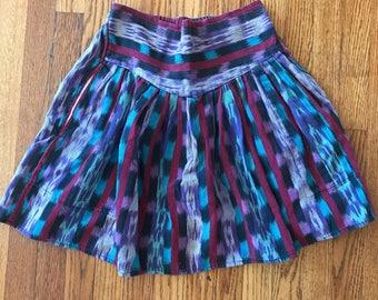 Ikat Pattern Cotton Mini Skirt