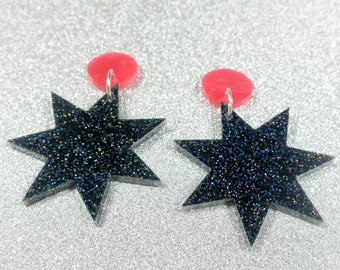 Black Glitter Starburst- Laser cut acrylic earrings