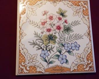 "Vintage Avon Floral Expression Collector Tile ""Friendship"""