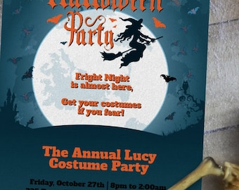 Customizable Fright Night Halloween Party Invitation | 6 Pack