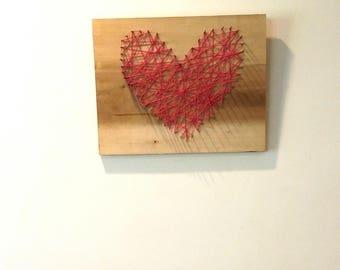 Industrial art, string art, handmade heart, heart art, pink decor, Industrial decor, original art