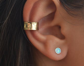 Special Offer-Set of two-Ear cuff and Opal stud Earrings,Adjustable Ear Cuff non pierced,Hammered Ear cuff,Opal Earring, Gold or Silver