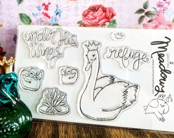Under His Wings Stamp Set Clear refuge feathers swan crown princess baby Christian Art Worship Bible Journaling Growing Meadows Tai Bender