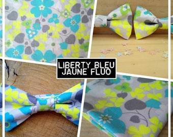"""Collection """"liberty blue neon yellow"""" bow tie adult-teen-child-baby"""