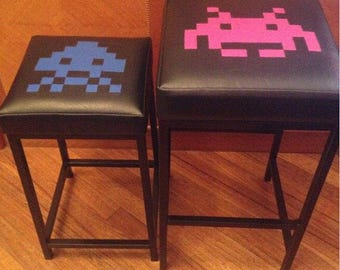 Space Invaders pair of retro stools