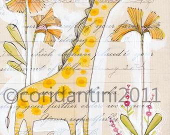 Giraffe Art Print - Giraffes - Giraffe Painting - Nursery Art - Giraffe Nursery - Nursery Room Decor - Baby Room - Giraffe Baby - dantini