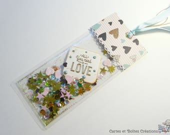 Bookmarks to shake (shaker bookmark) - All you need is love - Valentine's day - free shipping