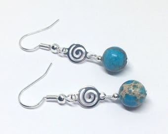 Blue Turquoise Earrings, Imperial Jasper Dangle Earrings, Turquoise Dangle with Sterling Silver Ear Wires, Boho Chic Earrings, Uk shop