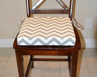 Merveilleux Gray And White Chevron Stripes Fabric Chair Cushion. Replacement Chair  Cushion Durable Cotton Slub Seat