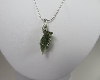 Moldavite Wire Wrapped Pendant
