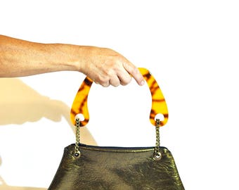 Small Purse in Gold Color with Retro Plastic Handles. Small Shoulder Bag.  Zipper Clutch