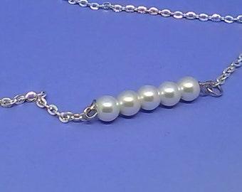 "Custom Made Pearl Bar Pendant, Silver Necklace, 18"" Chain, (Option: Swarovski Crystal, Birthstone), Handmade Personalized Jewelry"