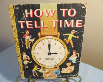 "Moving Dial on Paper Clock; amazing book; Little Golden Book ""How to Tell Time""; 1970's"