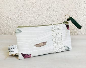 iPhone Case, iPhone Wallet, Cell Phone Fabric Case, Smartphone Pouch, Mobile Zippered Purse, Glasses Case in Paperboat  Designer Fabric
