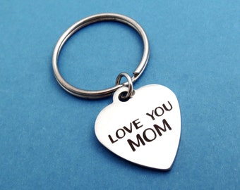 LOVE YOU MOM, Heart, Keychain, I love you mom, Keyring, Simple, Modern, Key chain, Key ring, Mom, Mother's day, Gift, Jewelry, Accessory