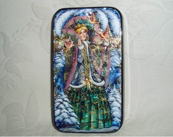 Beautiful Hand Painted Russian Lacquer box mother of pearl miniature Snow Maiden with birds