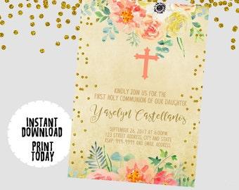 EDITABLE TEXT Communion Invitation - Communion Invites -  Firts Holy Communion - Communion Invite - Baptism Invitation -Instant Download