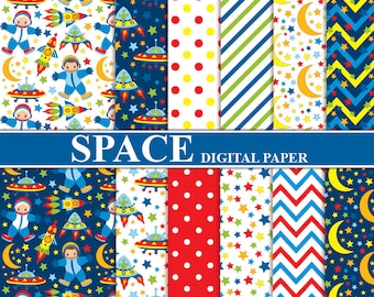 Space Digital Paper - Digital Pattern, Rocket, Alien, Spaceship, Stars, Moon, Space Papers