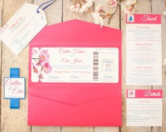 Beach Wedding Invitation.  Tropical Wedding Invitation. Travel Themed Wedding Invitation. Orchid Wedding Invitation Suite