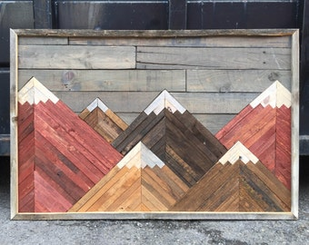 Reclaimed Barnwood Wall Hanging - Cascade Mountains