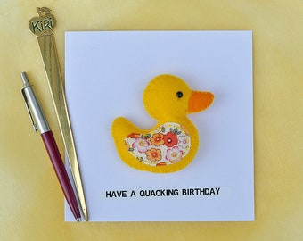 Duck Birthday Card - Magnetic Duck -  Have A Quacking Birthday  - Felt Yellow Duck Plushie - Fridge Magnet