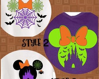 Minnie Mouse Halloween Shirt in 3 styles: Castle with Bats, Spiderwebs, Minnie Spider
