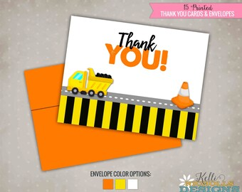 Boy's Birthday Construction Thank You Cards, Dump Truck Thank You Notes #B107