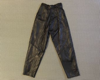 1990's, pleated front, black, leather pants, by Cache, Women's size Small