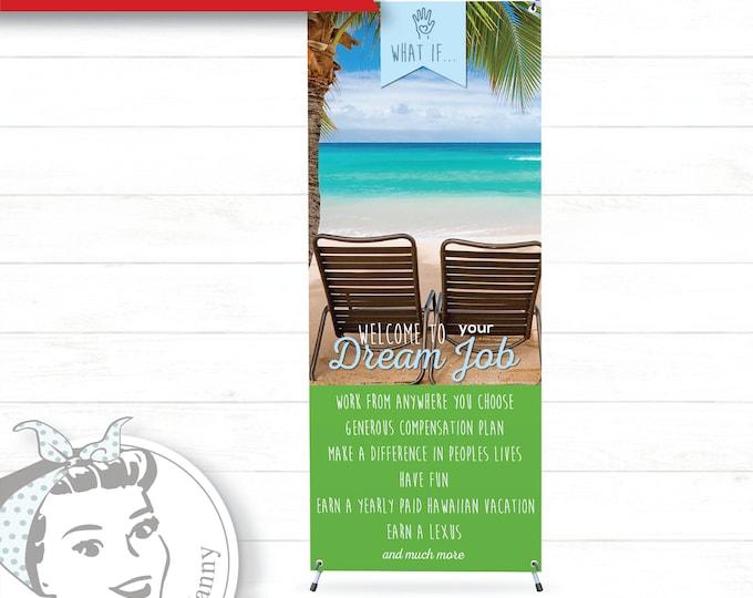 Banner with X-Stand - Dream Job Green, plexus Banner, New slim, Pink Drink, Pink Drink Update, plexus Swag