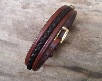 """Horse Hair Leather Bracelet with Solid Brass Buckle - 1/2"""" Horsehair Cuff"""