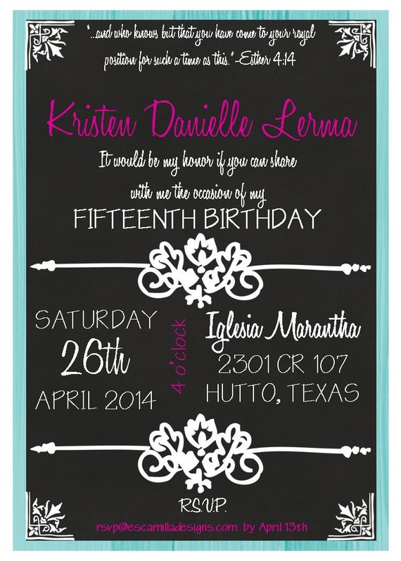 Chalkboard 15th birthday quinceanera invitation filmwisefo Image collections