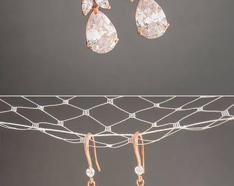 Rose Gold Bridal Earrings, Crystal Wedding Earrings, Clover Leaf Dangle Drop Earrings, Statement Bridal Jewelry, Teardrop Earrings, HARRIET