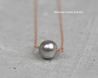 GREY PEARL Necklace-925 sterling silver electroplated with rose gold with natural grey pearl, freshwater pearls-stackable necklace