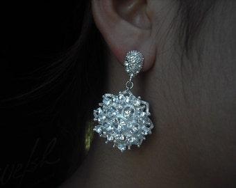 Evelyn, Bridal Earrings, Long Rhinestone Filigree Crystal Earrings, Art Deco Vintage Style Bridal Earrings, Weddng Jewelry