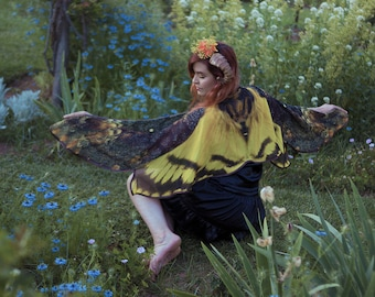 Death's Head Moth butterfly cape chiffon yellow cloak dance wings costume short small fairy