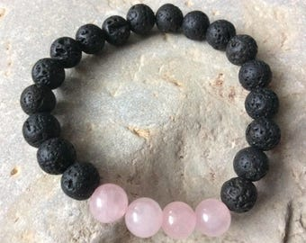 GIFT IDEA!Lava bead essential oil diffuser bracelet for aromatherapy - 8 mm lava stone beads with rose quartz  beads