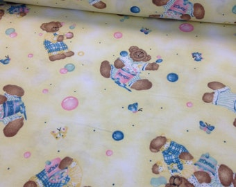 Blue jean Teddy bear yellow flannel fabric, vintage Daisy Kingdom, baby blanket, butterfly and bears baby quilting fabric, sold by the yard