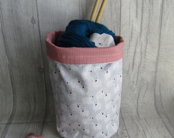 Cute Sheep Knitting project bag, Crochet, sock project bag, dice bag, wip bag, drawsting bag, crochet, weaving, embroidery, craft projects