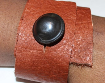 Leather Wrap Cuff with Button Detail