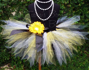 "Girls Tutu - Birthday Tutu - Black White Yellow - Bee Tutu - Sewn 11"" Pixie Tutu - up to 5T - Baby Toddler Girls Tutu Skirt"