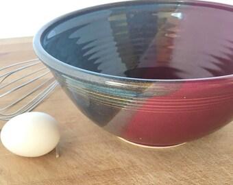 """Twilight Raspberry Ceramic Salad Bowl-- thrown stoneware ceramic serving mixing bowl - large 9"""" ceramic blue mixing bowl"""