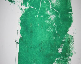 Abstract  Minimal Green No.3218 Ink on Paper 14x11 Modern Industrial